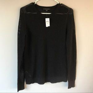 NWT Ann Taylor Black Open knit crew wool sweater M